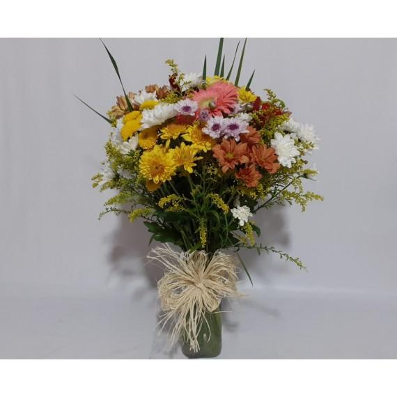 1 Arranjo Mediano de Flores do Campo Coloridas em Vaso