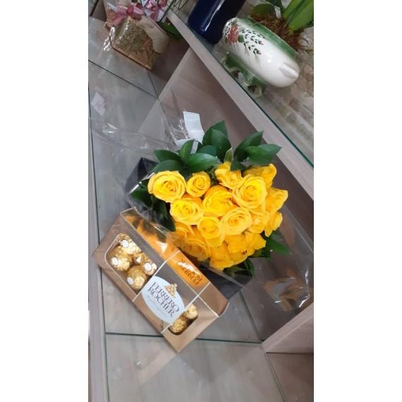 Buquê com 18 rosas Amarelas com chocolates