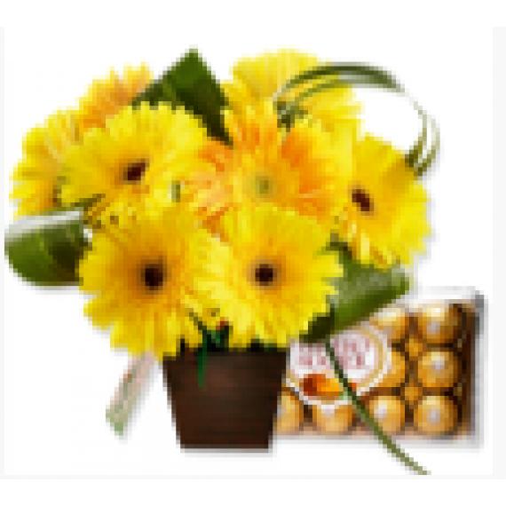 Arranjo de Flores e Bombons Você é Luz
